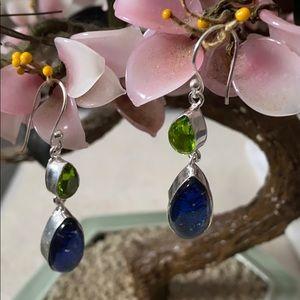 Vintage 925 Australian  opal and peridot earring